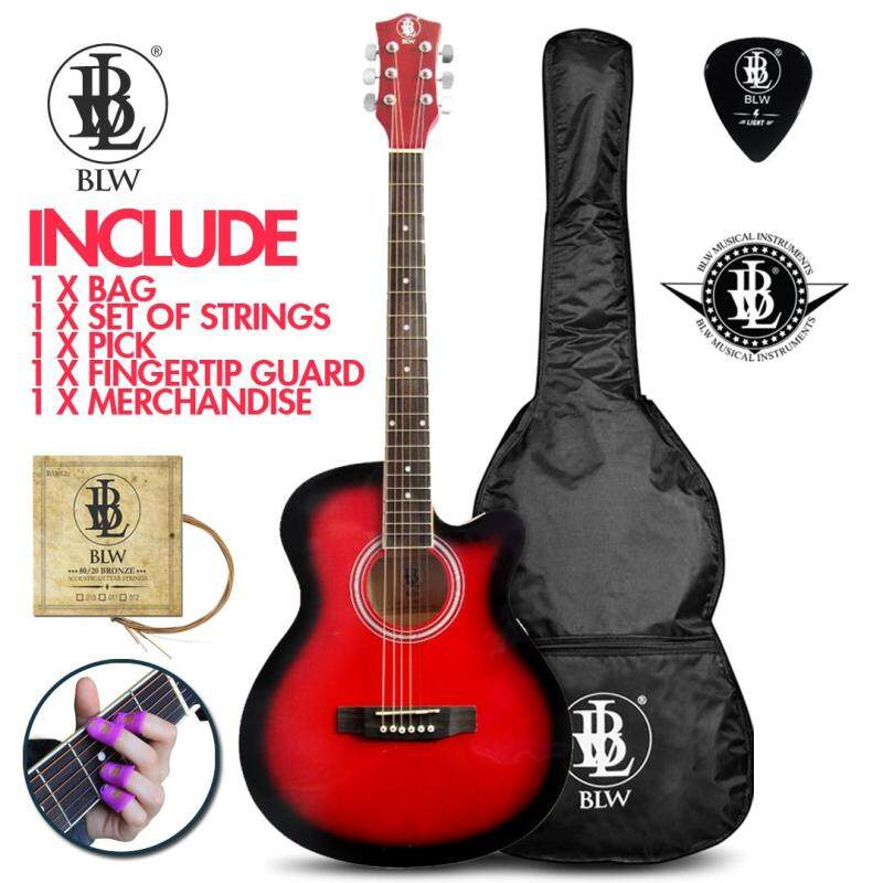 BLW 40 Inch Standard Orchestra Acoustic Guitar for Beginners SO400 Comes with Bag, String Set, Fingertip Guard, Pick and Merchandise Sticker (Red) Malaysia