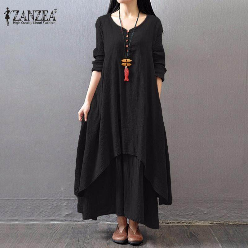 e7d4e62a40e5 ZANZEA Boho Long Maxi Dress Women Casual Solid Cotton Linen Vestidos Plus  Size Elegant Loose Full
