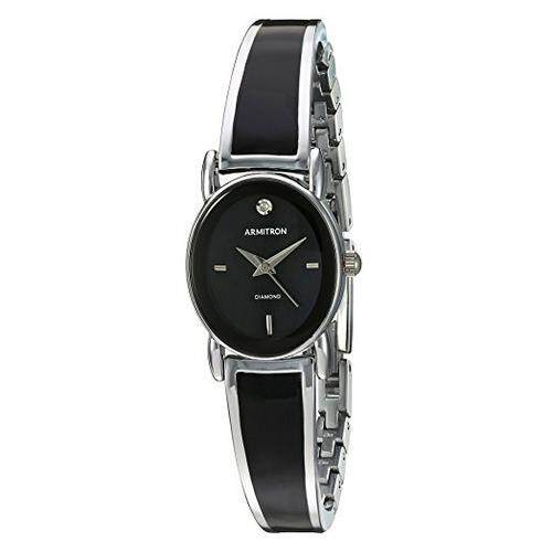 [Armitron] Armitron Womens 75/5423BKSV Diamond-Accented Dial Silver-Tone and Black Bangle Watch [From USA] Malaysia