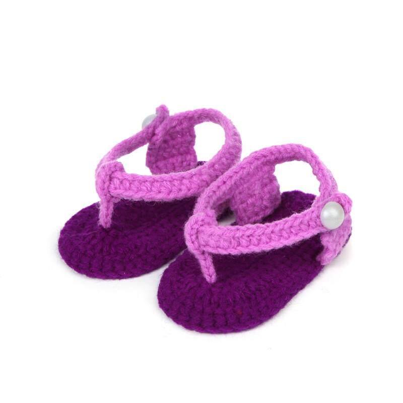Radocie Crib Crochet Casual Baby Girls Handmade Knit Sock Clip Toe Infant Shoes By Radocie.
