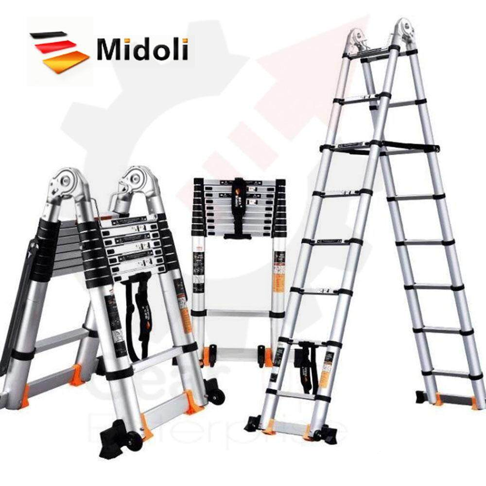 6.6m (3.3+3.3) Multi-Purpose Telescopic Ladder MIDOLI with extra Safety (convert to Step or Straight Ladder)