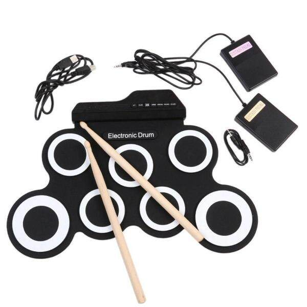 Portable Electronic Drum Digital USB 7 Pads Roll up Drum Set Silicone Electric Drum Pad Kit with DrumSticks Foot Pedal Malaysia