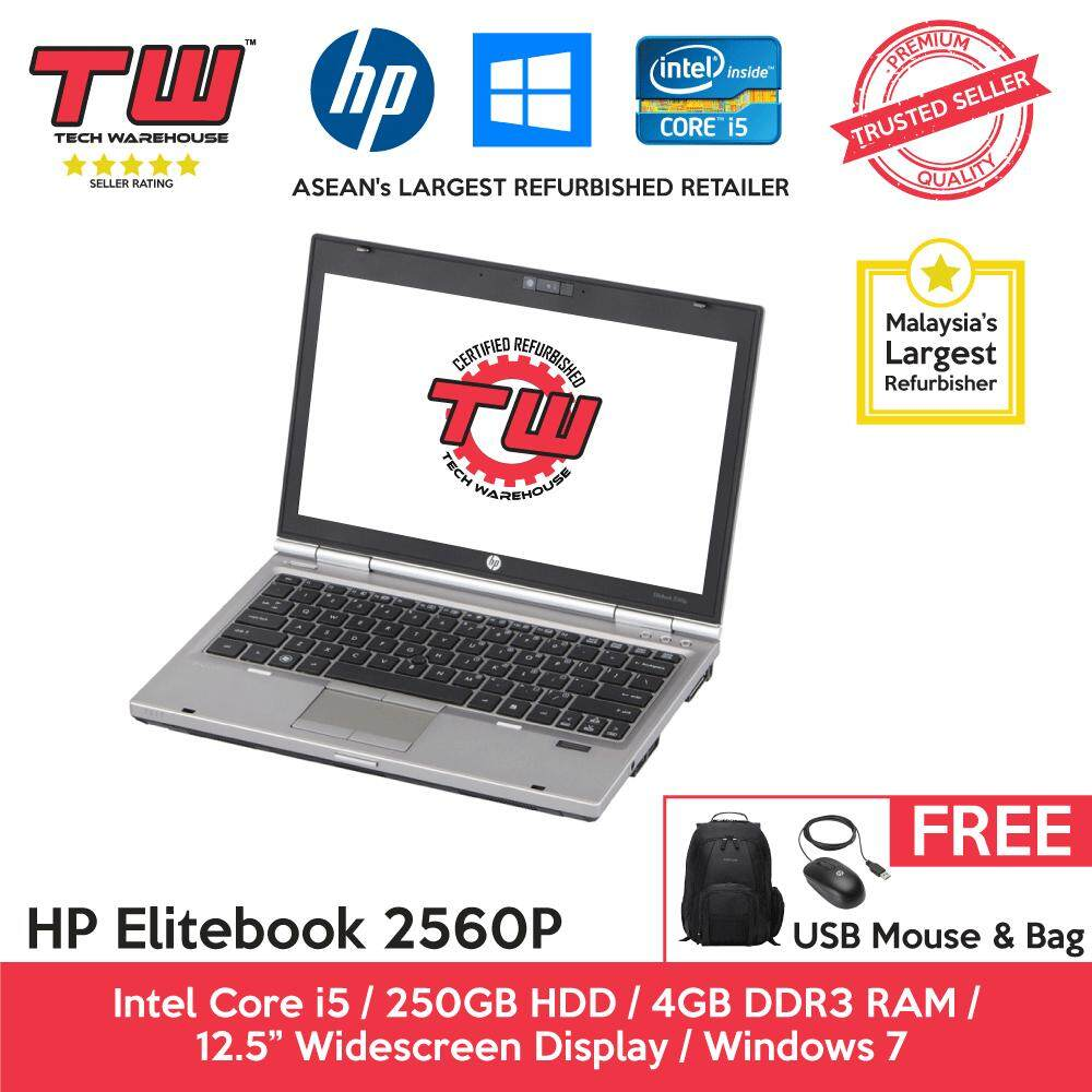 HP Elitebook 2560p Core i5 2.6 GHz / 4GB RAM / 250GB HDD / Windows 7 Laptop / 3 Months Warranty (Factory Refurbished) Malaysia