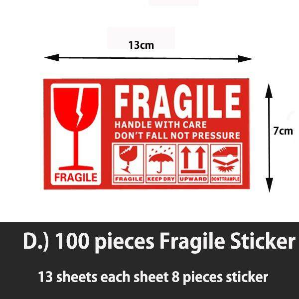 100 Pieces Fragile Sticker 13cm * 7cm By Homefit.