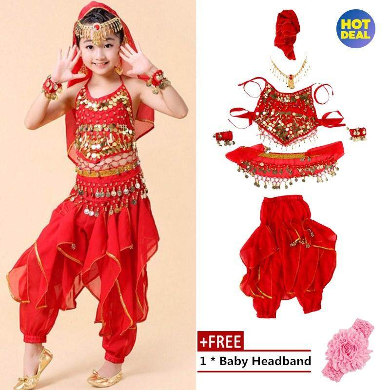 ddf863006947 【Free Gift】Fashionable Children Kids Girls Belly Dance Costumes Long Pants  Trousers Accessories (