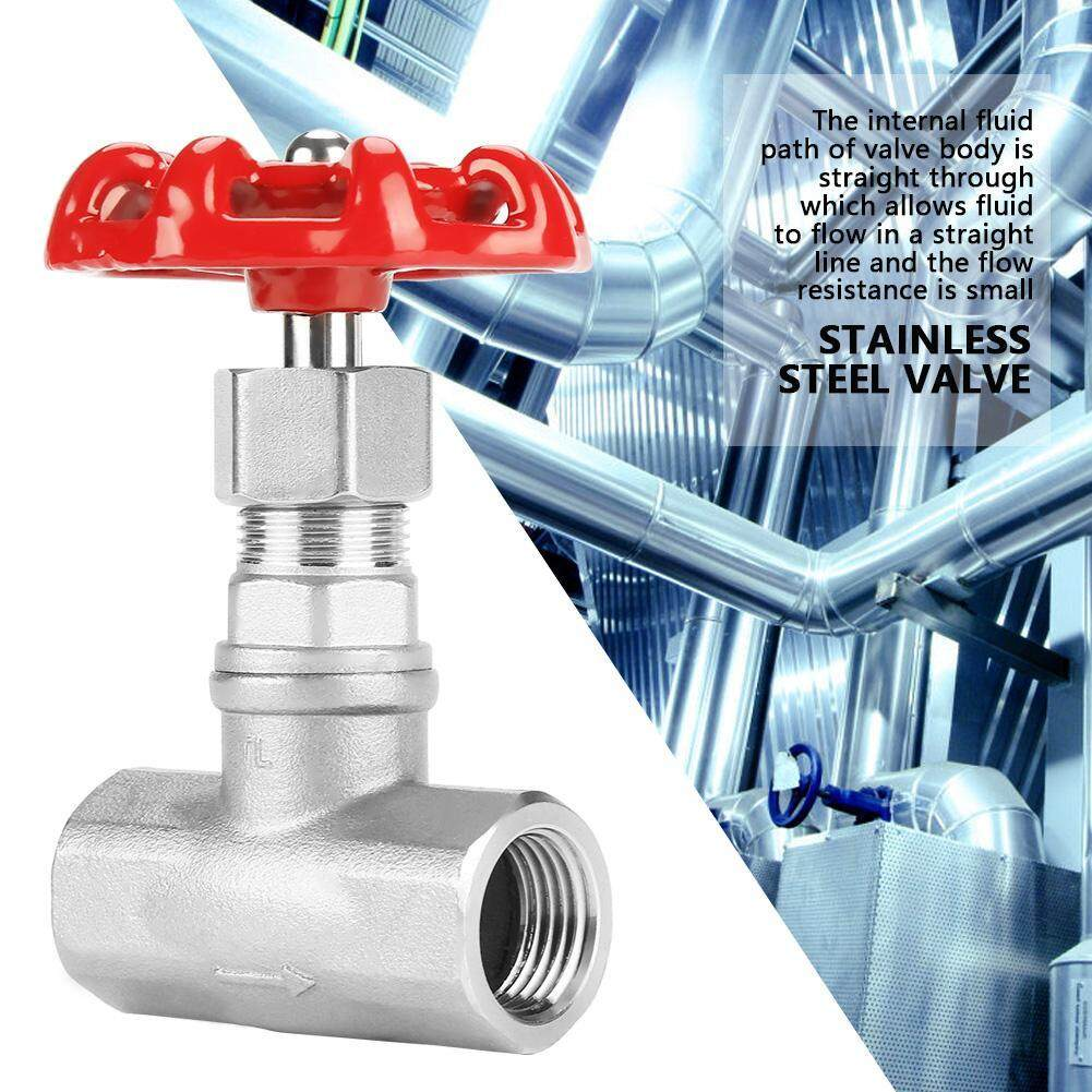 【Ele】DN15 Stainless Steel Gate Valve BSPP G1/2 Rotary Sluice Valve for Water Oil Gas(Silver)
