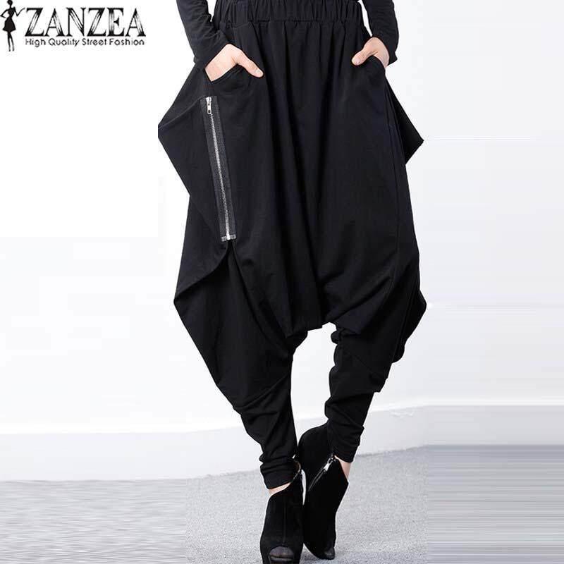 b0d6c686e0 ZANZEA Women Elastic Waist Zip Baggy Drop-Crotch Gothic Trousers Pockets  Irregular Hem Long Cross