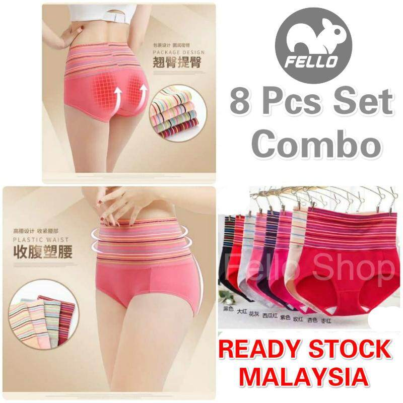 bacbf9aec0a READY STOCK FELLO Colour Stripe High Waist Slimming Colorful Panty   Panties  Underwear