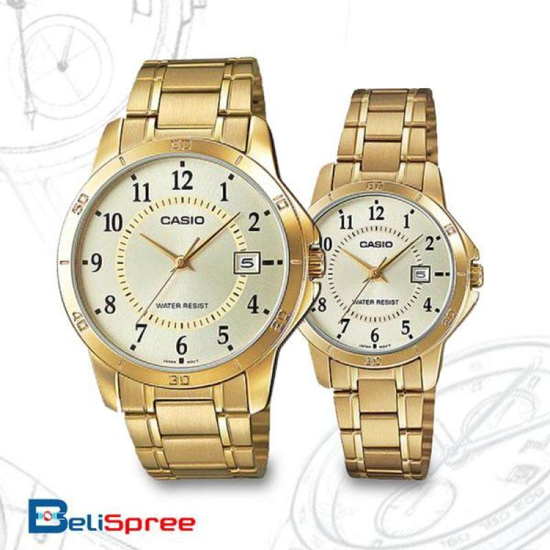 Casio MTP-V004G-9B & LTP-V004G-9B STANDARD Analog Couple Pair Watch Date Gold Case Stainless Steel Band Malaysia