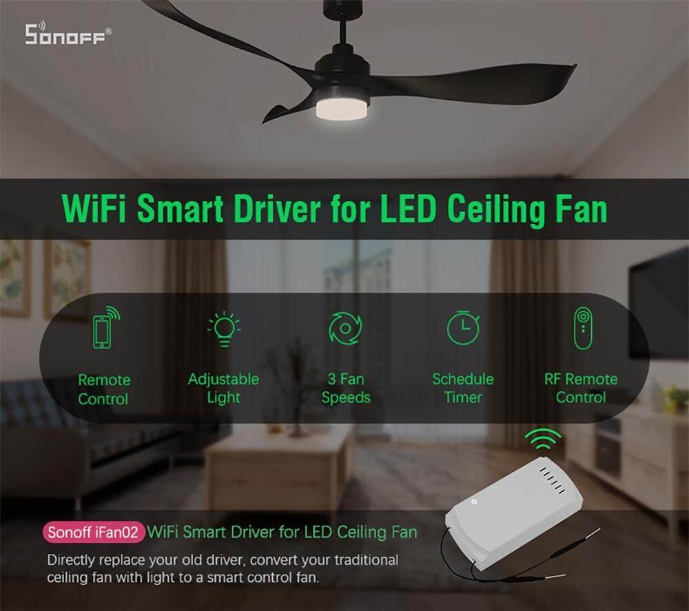 Sonoff iFan02 Fan Smart Switch Convert Fan to Wifi Smart Control Adjust Fan  Speed Dimmer Controller Works With Alexa Google Home