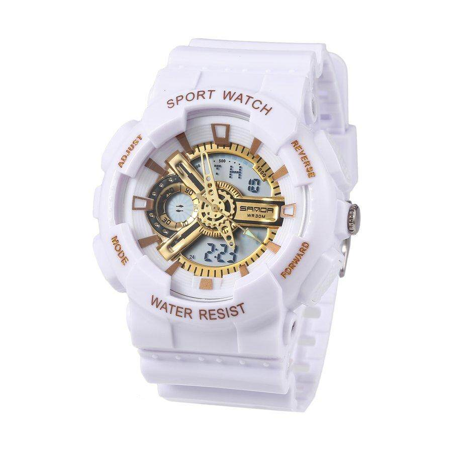 Water-resistant Outdoor Sport Watch Electronic Watch with LED Backlit for Kid White+Gold Malaysia