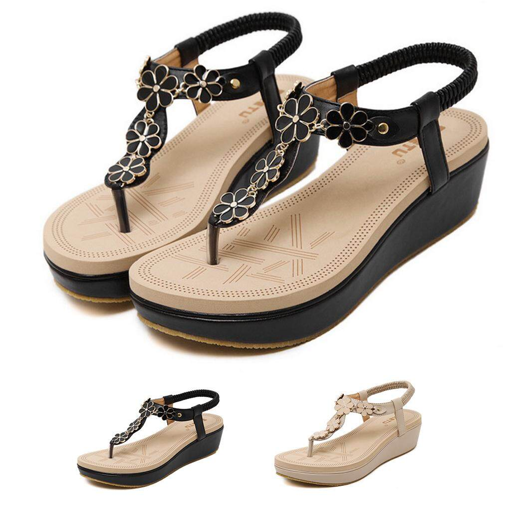 6d83ffc52ca7 High Quality Korean version Sandals Buckle Elastic Band Wedges Women s shoes  Toe Beach shoes
