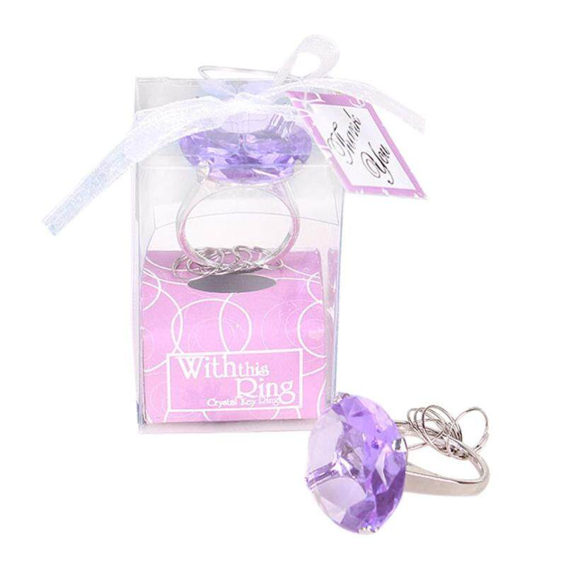 trustinyou Your Lover Romantic Gift Purple Love Super Big Diamond Ring Keychain