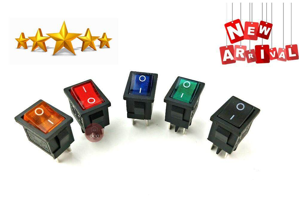 Kcd1 On-Off 4pin Boat Car Rocker Switch 6a/10a 250v/125v Ac Red Yellow Green Blue Butto Kcd1 By Online Car Automart.