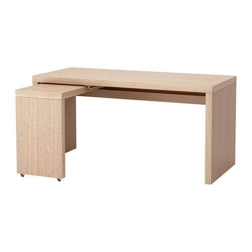 IKEA MALM DESK WITH PULL OUT PANEL WHITE STAINED OAK VENEER 151X65 CM  Malaysia