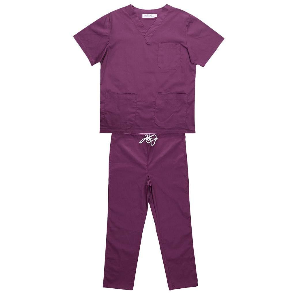 Magideal Men Women Medical Spa Nursing Clinic Scrub Sets Hospital Uniform M Purple By Magideal.