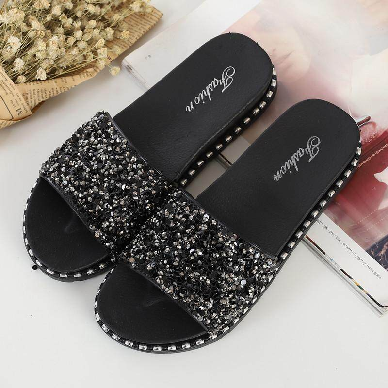 a4adc4f4a6e3f China. Slippers female summer wear fashion 2018 new Korean version with flat  sequins sandals thick bottom outdoor
