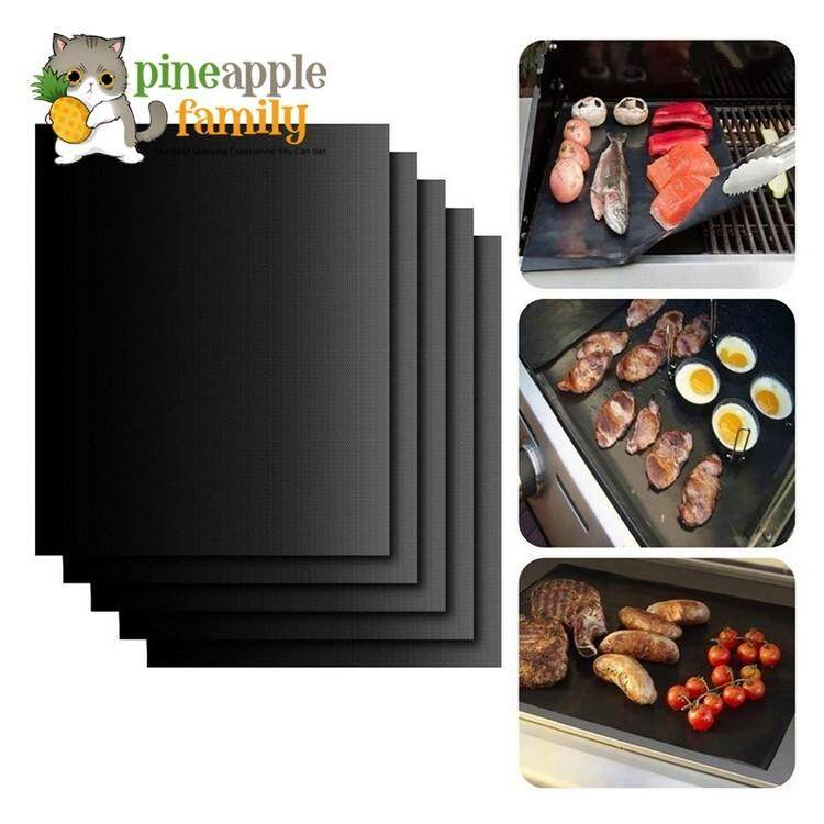 5pcs Non Stick Surface Heat Resistant Bbq Grill-Mats 40x33cm Durable Barbecue Baking Mats By Pineapple Family.