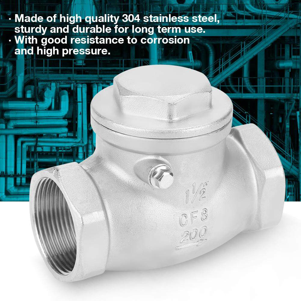 DN40 Stainless Steel One Way Swing Check Valve Female Thread 200PSI for Water Oil Gas