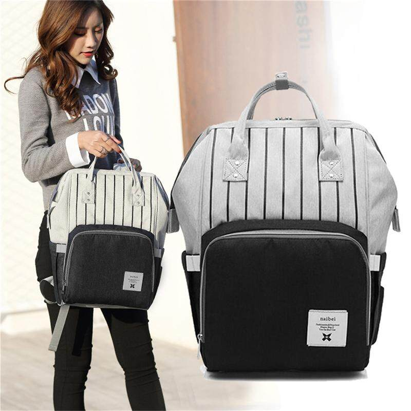 Black fashion diapers large-capacity multi-function care bag children travel striped backpack baby