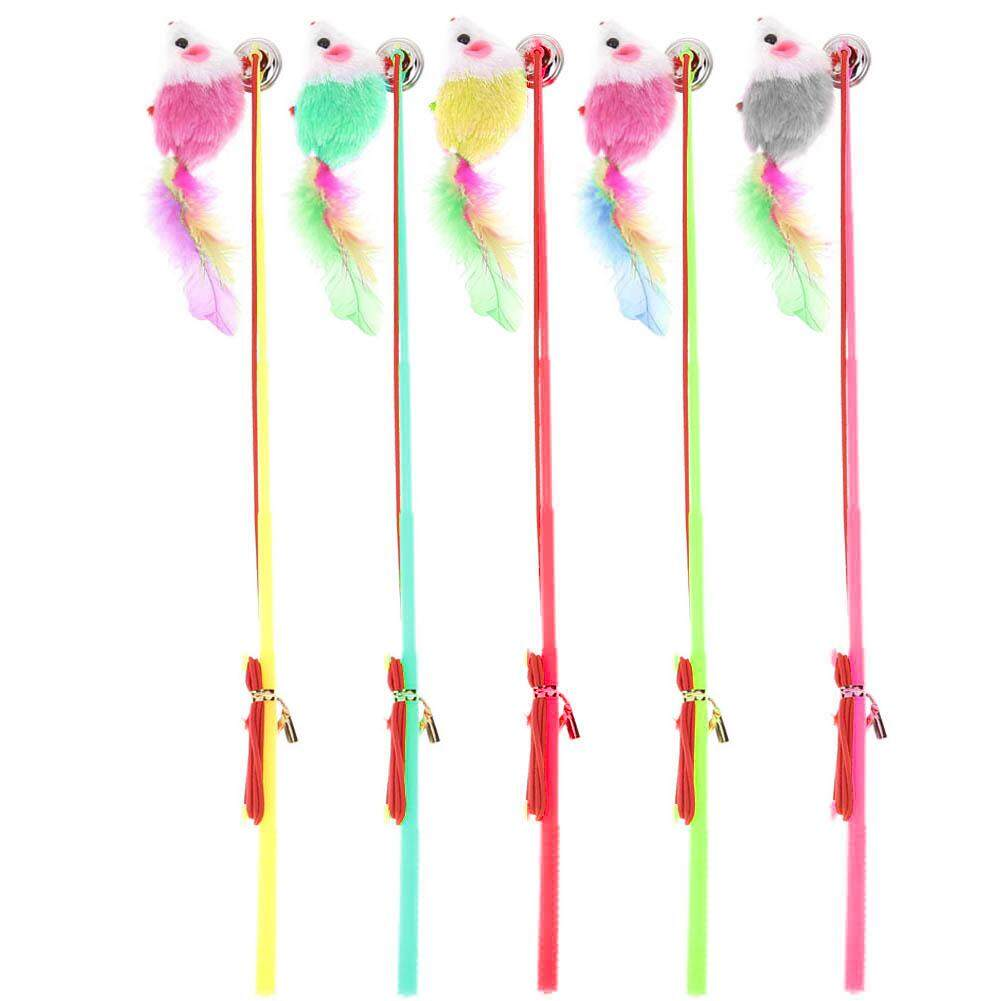 Colorful Feather Plastic Wire Kitten Cat Toy Rod Elastic Rope Play Dangler Wand By Companionship.