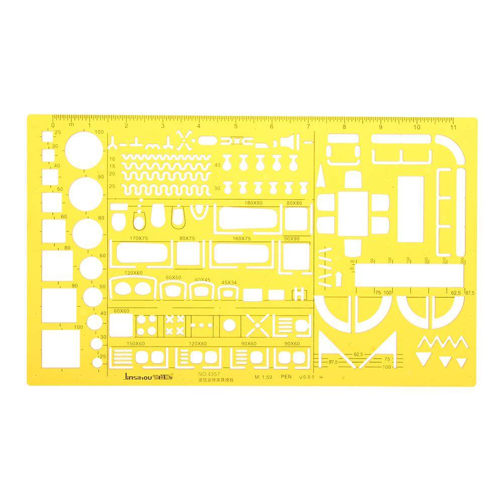 1:50 Interior Decorations Architectural Furniture Drawing Template Kt Soft Plastic Ruler Stencil By Channy.