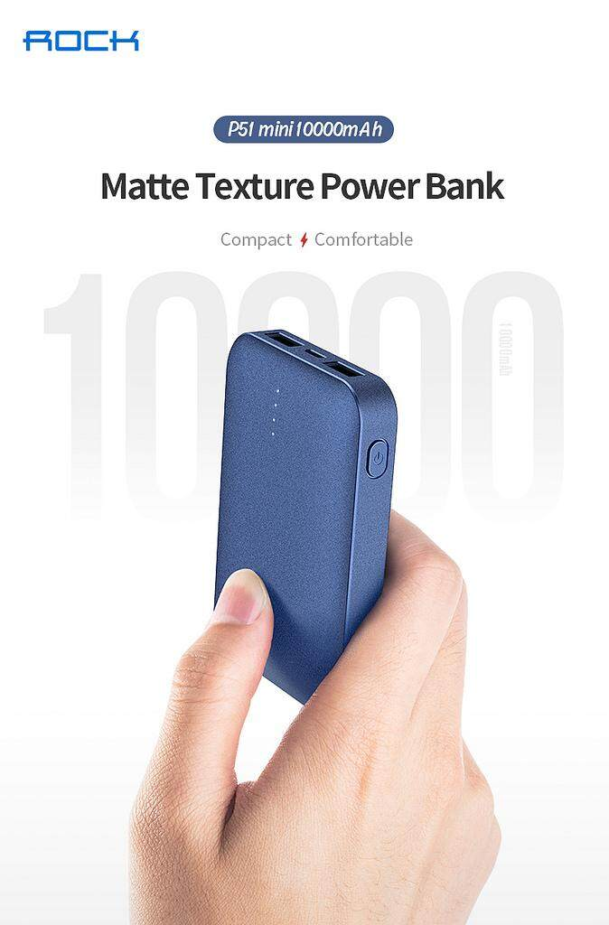 ROCK P51 Mini 10000mAh PowerBank Palm Matte LED Dual USB Slim Battery