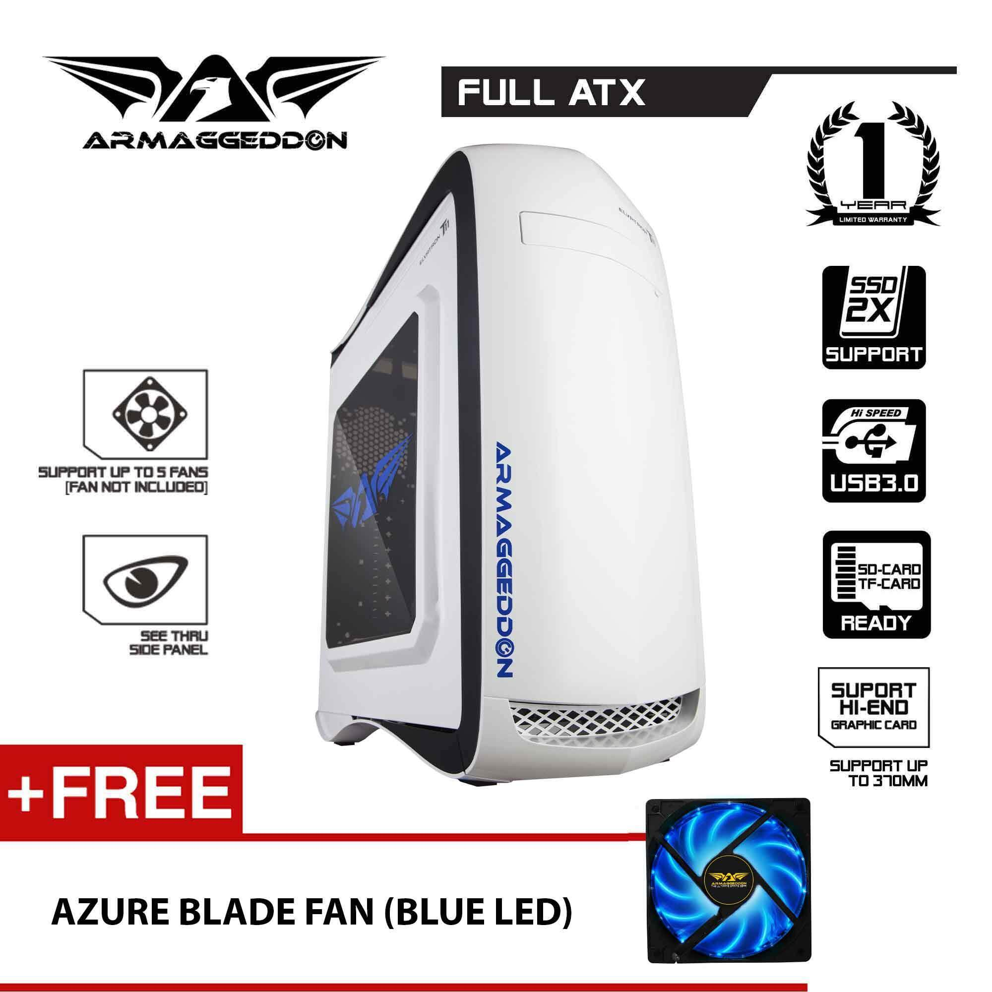 Armaggeddon Elvatron T11 Gaming PC Case (Black) Free Cooling Fan Malaysia