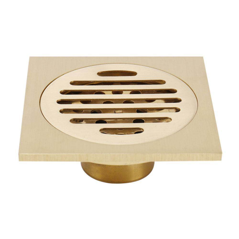 leegoal Square Floor Drain Bathroom, Brass Anti-odor Shower Waste Grate with Removable Strainer for Bathroom Kitchen Laundry Toilet Garden Outdoor -10x10CM
