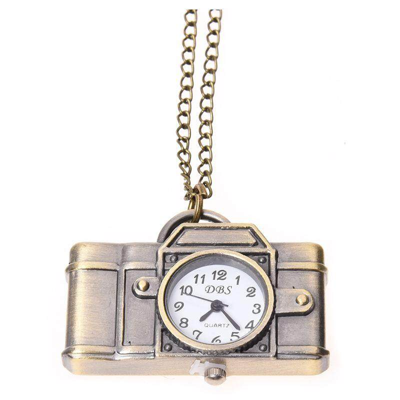 SODIAL(R) Vintage Style Camera Pocket Watch Locket Pendant Quartz Long Necklace - Bronze Malaysia
