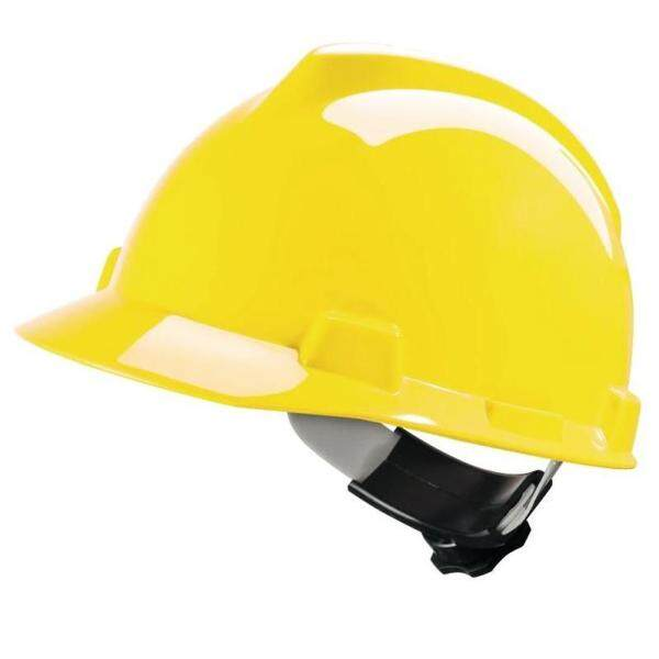 MSA HELMET V-GARD PROTECTIVE CAP YELLOW W/RATCHET HARDNESS (ORIGINAL USA)