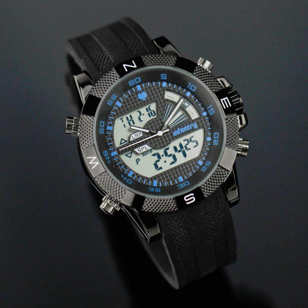 INFANTRY MENS ANALOGUE - DIGITAL WRIST WATCH CHRONOGRAPH ARMY MILITARY SPORT BLACK RUBBER STRAP(IN