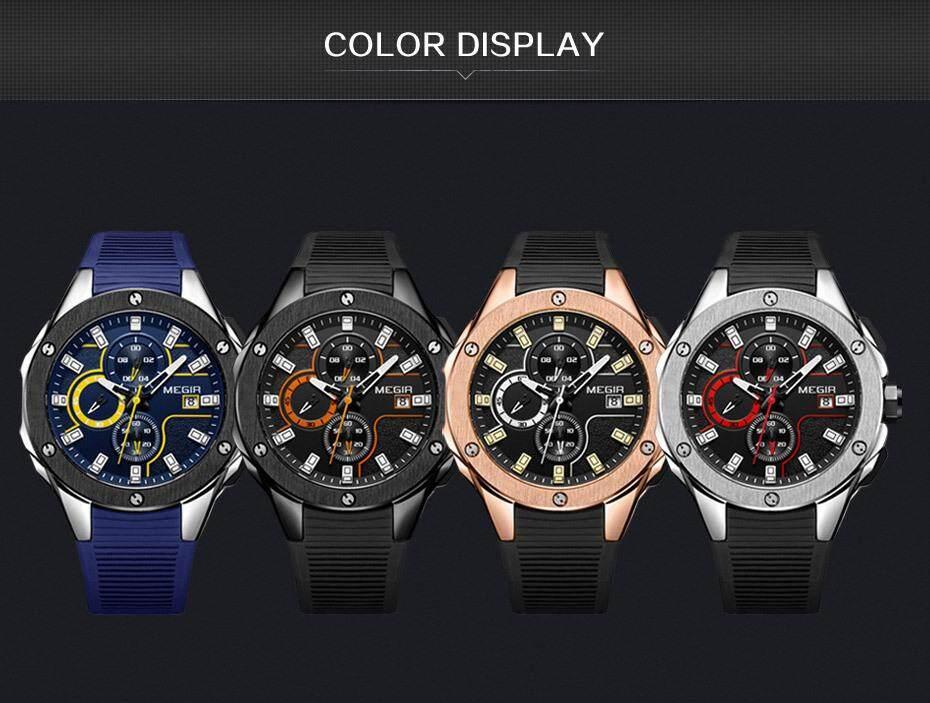 bc9efa1063cc MEGIR MN2053G Men Sport Watch Chronograph Silicone Strap Quartz Army ...