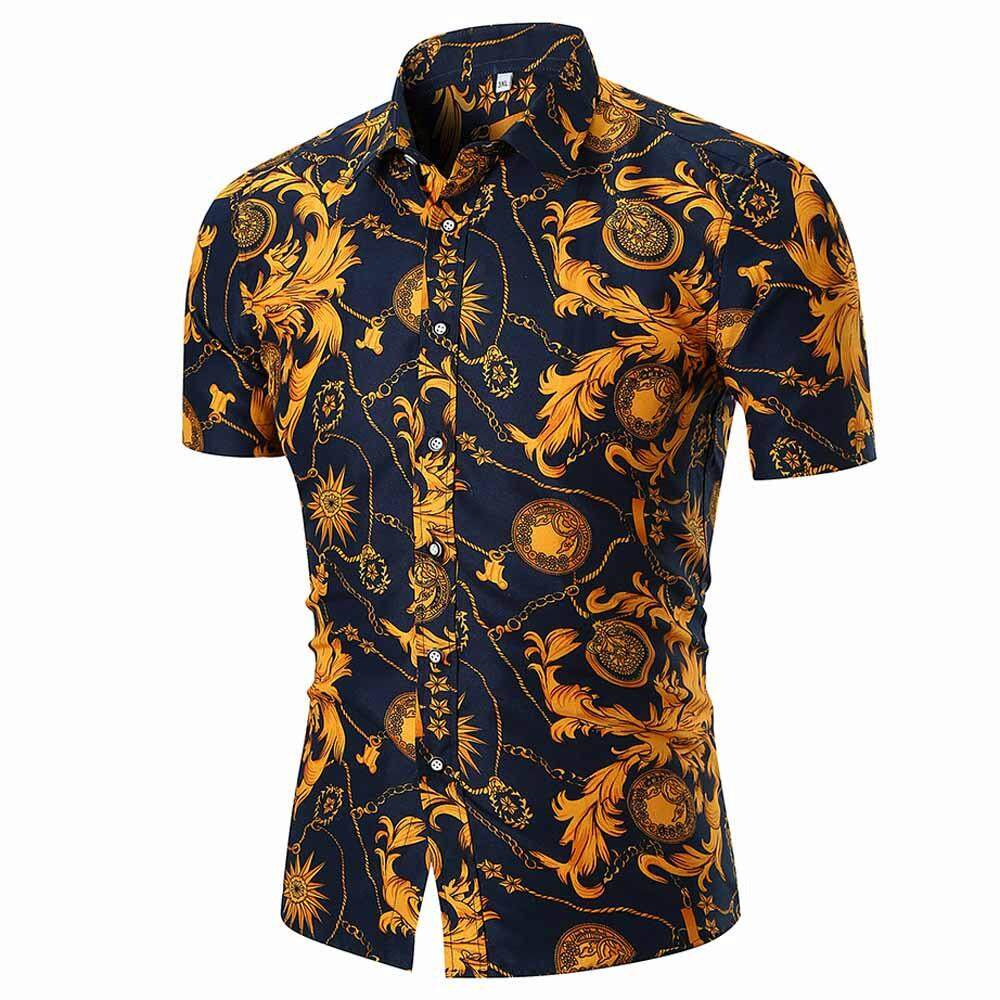 Personality Mens Summer Casual Slim Short Sleeve Printed Shirt Top Blouse By Ro Mantiy.