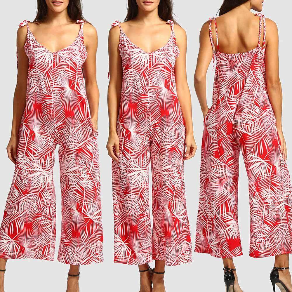 Aiipstore Boho Women Leaves Printing Sleeveless Long Playsuits Rompers Jumpsuit By Aiipstore.