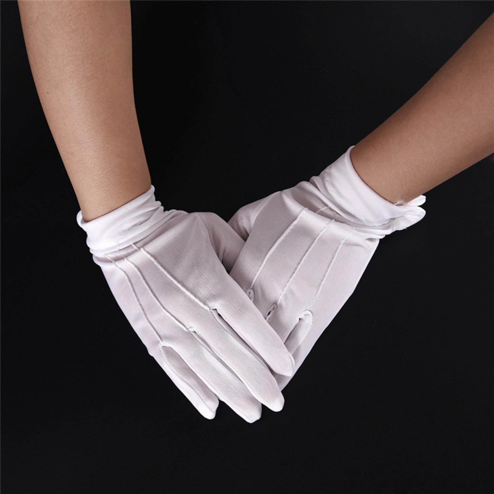 Pinellia flowers Design White Formal Gloves White Honor Guard Parade Santa Women Men Inspection