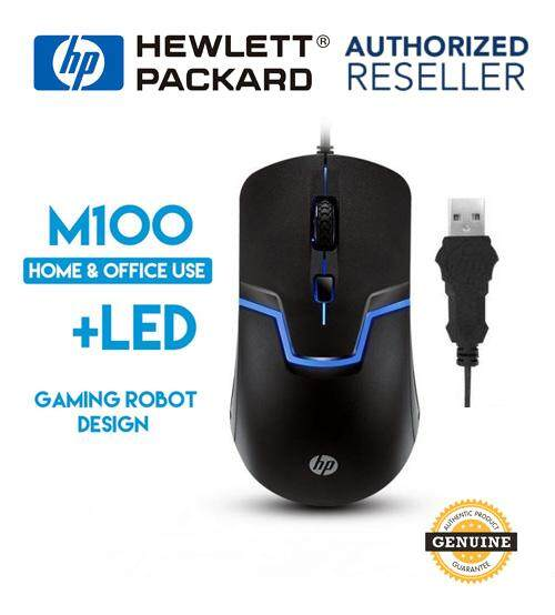 Original Hewlett Packard HP M100 Wired Optical 3-button Gaming USB Mouse with 7 Color Led Back Light Malaysia