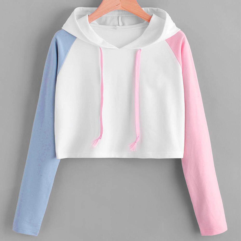 Calvinstore Women Girl Plus Size Patchwork Long Sleeve Casual Crop Jumper Pullover Tops By Calvinstore.