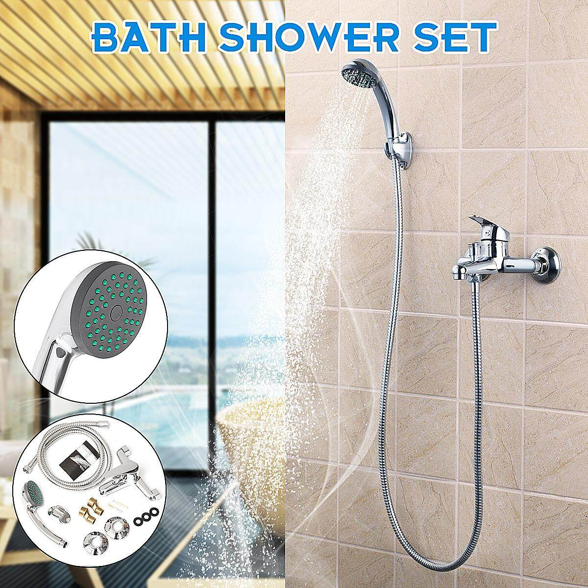 Chrome Wall Mounted Bathroom Bathtub Shower Faucet Set Mixer + Hand Sprayer Shower Head