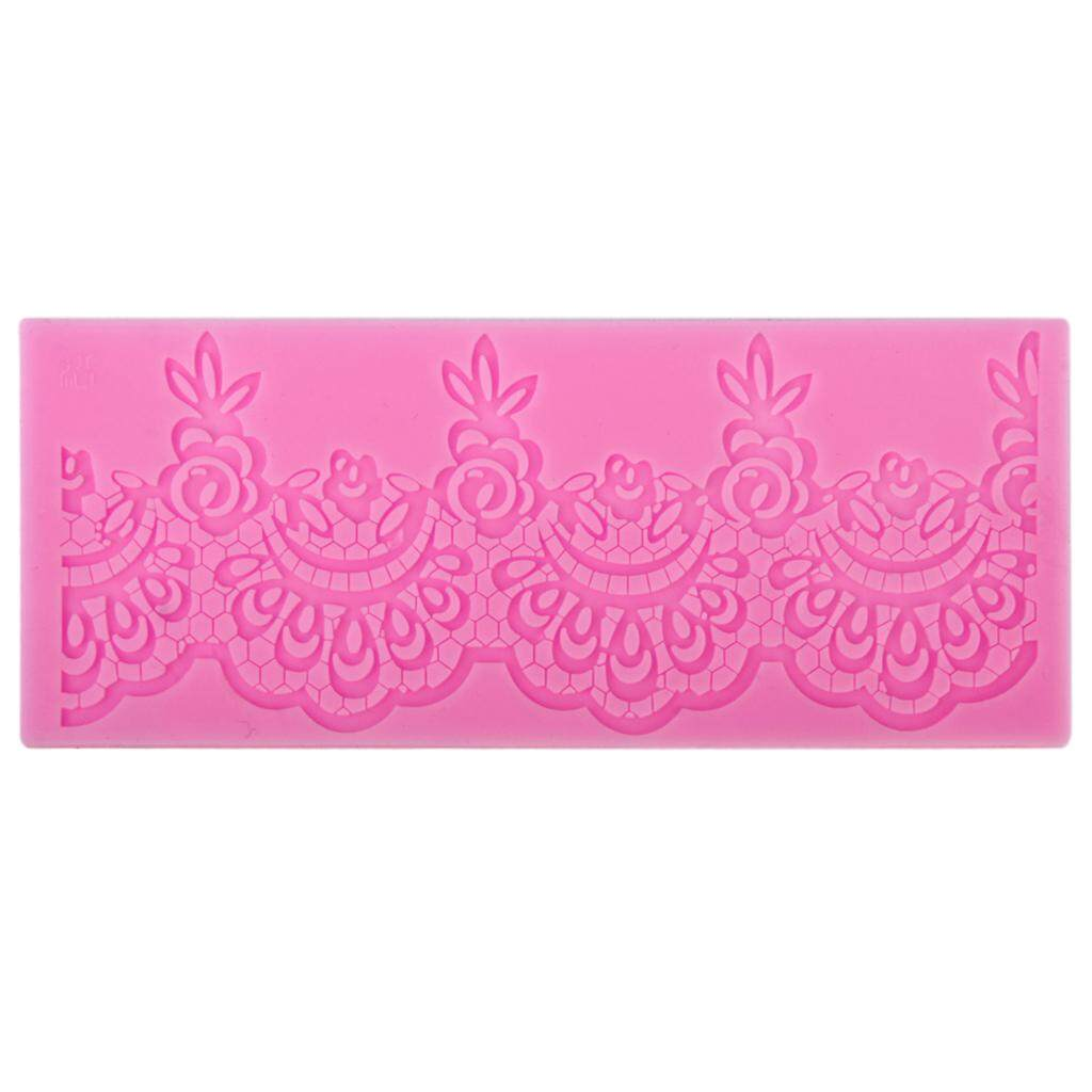 MagiDeal Silicone Fondant Cake Lace Sugar Craft Mat Cake Texture Decorating Mold Pink
