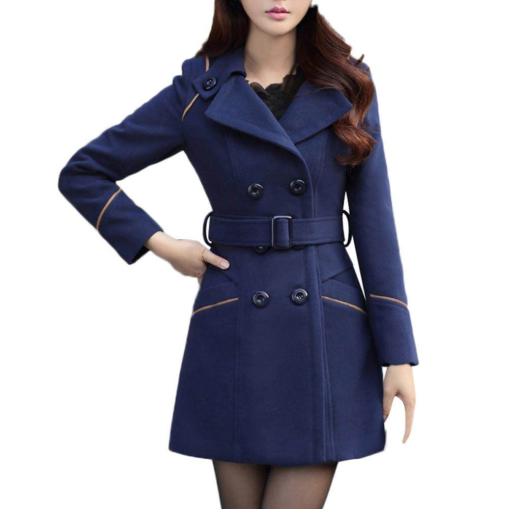 dafa9c4c4 China. GUO Women Wool Double Breasted Coat Elegant Long Sleeve Work Office  Fashion Jacket