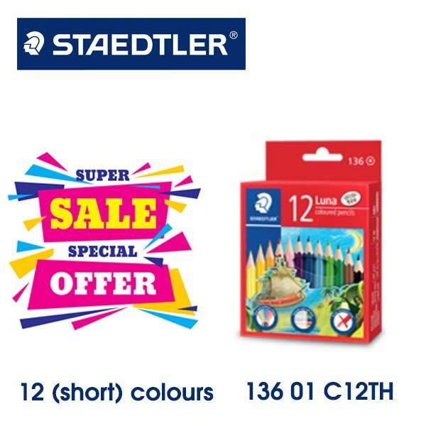 Staedtler Luna Permanent Color Pencil 12(short) Colour Half Length - 13601c12th By Maslot.