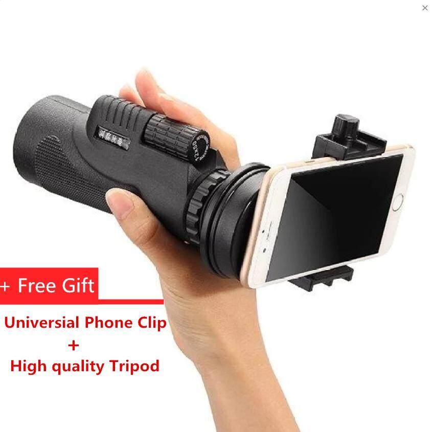 50x Zoom HD Optical Monocular Telescope Lens Mobile Phone Camera +Tripod(Black)