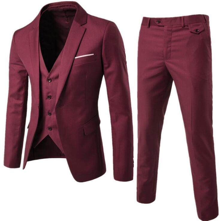 Mens Suits Three-Piece Sets Business Formal Attire Wedding Groom Coat Jacket+pants+vests By Hengda Mall.