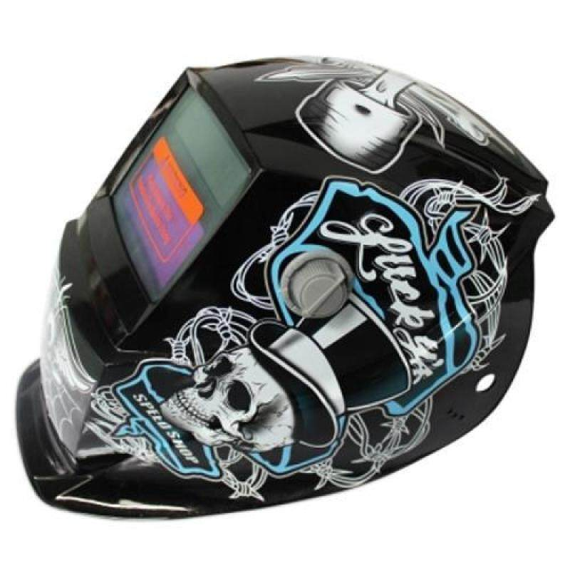 SOLAR ENERGY AUTOMATIC CHANGEABLE LIGHT ELECTRIC WELDING PROTECTIVE HELMET WITH  PIRATE PATTERN (BLACK AND BLUE)