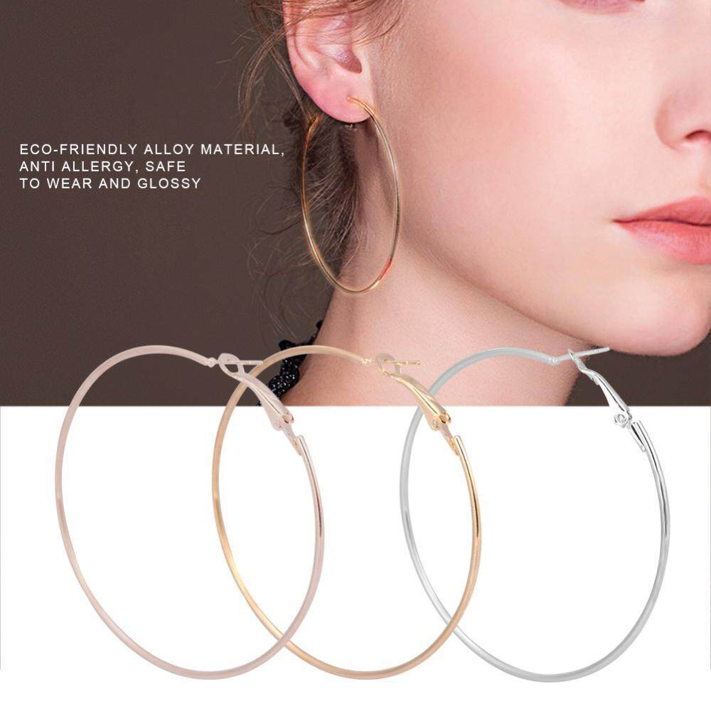 3 Pairs/set Fashionable Loop Earring Lady Women Alloy Round Large Hoop Loop Earrings Ear Stud By Rongshida.