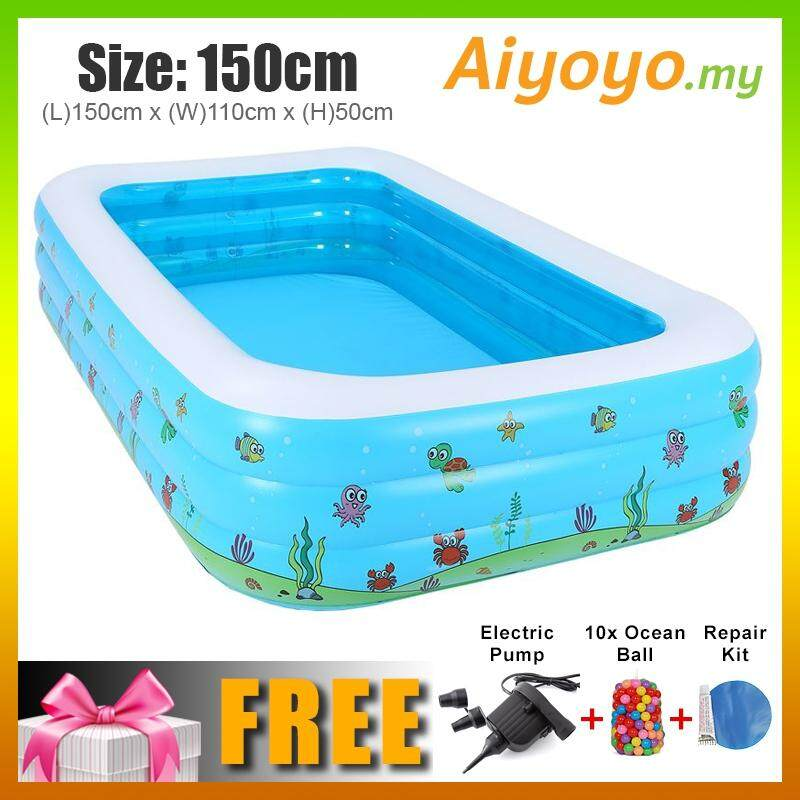 (L) 150 x (W) 110 x (H) 50cm Inflatable 3 Rings Swimming Pool Family  Children Kids Kid Baby Home Toy Game Bath Basin Showering Playing 3 Layer  Extra ...