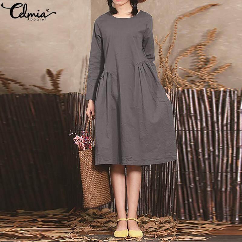 73a1f68e237 Celmia Women Winter Long Sleeve Casual Loose Swing Shirt Dress Party Tunic  Size