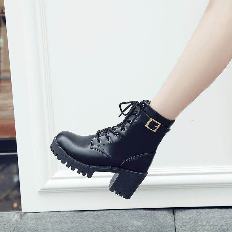 Autumn Winter Women Lady Pu Leather High Heel Martin Ankle Lace Boots Shoes Black By Overseas Xp Supermarket.