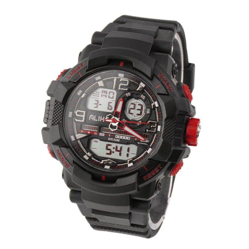 ALIKE Digital Sport Casual Green Back Light Date Chronograph Wrist Watch Red Malaysia